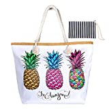 WolinTek Große Wasserdicht Strandtasche mit Reißverschluss und Innentasche Sommer TascheVerschluss...