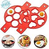 LIUMY 2 PCS Silikon Pfannkuchenformen mit 7 Löchern, (Herz & Runde Form), Ungiftige und...