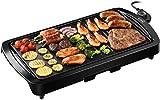 Homasy Elektrische Plancha Grillplatte 1600W 2in1 Elektrische Grillpfanne Indoor Smokeless...