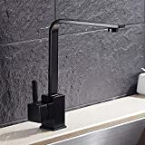 ZGZNB Modern high-grade copper black square kitchen hot and cold water faucet
