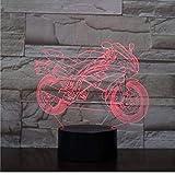 Neu 3D Illusion Nachtlicht Halloween Cooles Motorrad 3D Lampe Atmosphäre Nachtlicht LED Glühbirne...