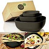 bambuswald© 3er Set ökologische Salatschüsseln - perfekt für Salat, Teig & Pasta -...
