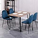 GOLDFAN Esstisch mit 4 Stühlen Rechteckiger Esstisch Retro Design Küchentisch und Samt Stuhl mit...