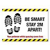 """3 Signs 4 Stück """"Be Smart Stay 2m Apart""""-Schild, Bodenmarkierungen, Pflichtschutz für..."""