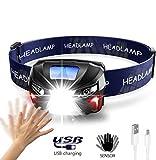 LMOOFG LED Stirnlampe, Leichte LED-Scheinwerfer, USB Super Bright Fahrrad-vorderes Licht...