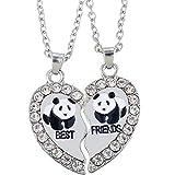 MJARTORIA Damen Kette Halskette Best Friends Gravur Panda Delphin Pinguin Herz Partner Anhänger...