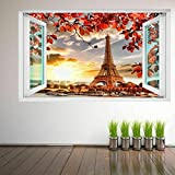 BFLOF Wandtattoo Eiffelturm Herbstlaub Paris 3D Wandkunst Aufkleber Wandbild Aufkleber Poster...