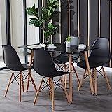 H.J WeDoo Essgruppe mit Esstisch und 4 Essstühlen, Moderner Rechteckig Tisch mit 4 Schwarz...