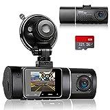 Abask Dashcam Infrarot Nachtsicht Dual Autokamera Vorne und Hinten Full HD 1080P mit 32GB SD-Karte,...