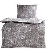 4tlg Baumwoll Bettwäsche Silber Grau 2x 135x200 cm + 2x 80x80 cm mit Reißverschluss NEU ÖKO-TEX...