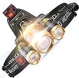 MUTONT Stirnlampe LED Scheinwerfer Super Bright Zoomable Taschenlampen 4 Modi Scheinwerfer...