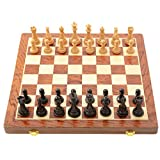 WAGA Schachspiel Folding Magnetic Travel Chess Set, mit Ablagefächer International Chess, Geschenk...