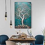 yhyxll Nordic Vintage Kunst Leinwand Malerei Abstrakte Baum mit Blumen Vögel Ölgemälde Wandbilder...