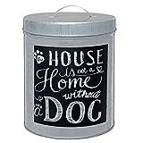 Unbekannt Metall Dose Futterdose Hund Leckerli Zink Silber mit Aufschrift Home 16 * 12