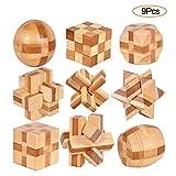 YGZN 9 Stück Denksportaufgaben Cube - Knobelspiele Set - Holzspielzeug - 3D Puzzle - Geduldspiel...