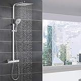 WOOHSE Duschsystem mit Thermostat Regendusche Duschset Edelstahl Duschsäule mit Kopfbrause, 3...