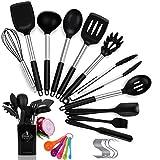 Popolic Silikon Küchenhelfer Set, 14 Stück Küchenutensilien Set, Hitzebeständig Kochgeschirr Set...