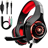 Beexcellent GM-1RED Gaming Kopfhrer fr PS4 PC Xbox One, LED Light, rot