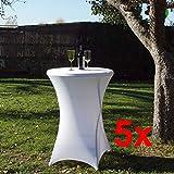 TRUTZHOLM 5 Stück Tischdecke Husse Partytisch Bistrotisch Stehtischhusse Decke weiß 80 cm