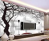 Fototapete 3D Effekt Tapete Handgezeichnete Schwarze Und Weie Wand Abstrakte Baum Vliestapete 3D...