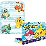 Amakando 8 Anime Pokémon Geburtstagseinladungen mit Kuvert / 16x21,5cm / Pocket Monster Karten mit...