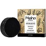 Meina Naturkosmetik - Schwarze Haarseife mit Aktivkohle gegen Schuppen und fettiges Haar, Vegan...