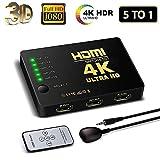 HDMI Switch 4K, FAERSI 5 Ports HDMI Switcher Splitter Untersttzung 4K@30Hz/2K/1080P/3D mit IR...