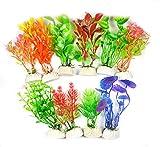 LLGL Plastikpflanzen für Aquarien, 10-teilig Klein Künstlich Wasserpflanzen Kunststoff Pflanzen...