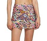 Westkun Damen Tennisrock mit Sporttights Skirt Minirock Sport Skort XS-XXL(Color Paisley,XL)