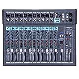 ammoon DJ Control • 12-Kanal DJ Mischer • 1200USB-BT Mischpult • 48-V Phantomspeisung Mixer...