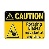 Caution Rota g Blades May St at Anytime. Caution Wandschild aus Metall, kreativ, Wandbild, Wandbild,...