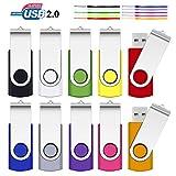 8 GB USB-Flash-Speicher, SRVR 10 Pack USB2.0 Daumeneinheiten, drehbar, Datenspeicherung,...