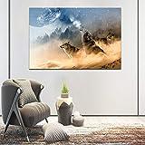 ganlanshu Moderne Bilddekoration Wolf brllender Mond Landung Tier lgemlde Wohnzimmer Leinwand...