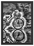 Picati Burning Bike brennendes Fahrrad im Schattenfugen Bilderrahmen | Format: 55x40 | Kunstdruck...