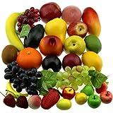 Gresorth 30 Fruchts Dekorativ Realistic Künstlich Frucht Fälschung Zitrone Banane Apfel Traube...