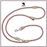 PROFTI Hundeleine aus Nylon, Lederelemente, 4fach verstellbar, große/kleine Hunde, 230cm lang,...