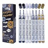 Schwarz Weiß Gold Silber Acrylstifte, 0,7mm Permanent Marker Stifte Wasserfest Acrylfarben Stifte...
