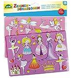 Lena 65766, 2er Zeichenschablonen Set Prinzessinnen und Elfen, 2 Schablonen mit Motiven und...