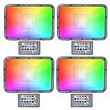 50W LED RGB Scheinwerfer mit Fernbedienung, Farbwechsel Einbaustrahler IP67 wasserdicht, dimmbare 16...