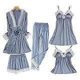ATEYC Bademantel Bademantel Damen Pyjama 5 Stück Satin Nachtwäsche Seide Zuhause Kleidung...