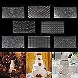 BELLE VOUS Fondant Prägematte (8 Pack) - 30,5x16cm - 2X Rauten, 2X Quadrate, 4X Blumen Design...