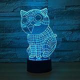 3D Nachtlicht Ostermontag Geschenk Nette Katze 3d Led Lampe 7 Farbe Nachtlampen für Kinder Touch...