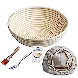 Gärkörbchen rund, ø 25 cm, Höhe 8.5 cm Banneton Proof Korb für Brot und Teig [inkl. Pinsel]...