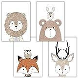 Frechdax® 4er Set Kinderzimmer Babyzimmer Poster Bilder DIN A4 | Mädchen Junge Deko | Dekoration...