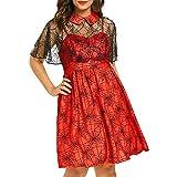TWIFER Lose Halloween Minikleider Damen Cobweb Print Ruffle Lange Ärmel T Shirt Kleider(Rot,4XL)