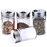 DERU® Gewürzstreuer, 4 Stück Gewürzdosen, Vorratsdose mit Deckel und Transparentem - 100 ml,...