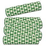 6 Luftschlangen Silvesterdeko Kleeblatt grün-weiß