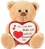 Brubaker Teddy Plüschbär mit Herz Rot Beige - Du bist das Beste was Mir je ... - 25 cm - Teddybär...