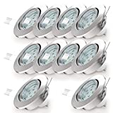 LED Einbaustrahler Schwenkbar Inkl. 10 x 3W GU10 Leuchtmittel IP23 Warmweiße Lichtfarbe 10er Set...