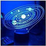 3D-Illusions-Nachtlicht für Kinder, Stimmungslicht, 7-farbige Fernbedienung und Touch-Taste,...